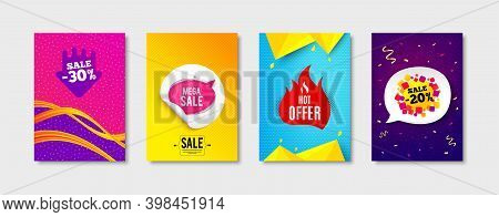 Hot Offer, Sale Bubble And Sale Tag Promo Label Set. Sticker Template Layout. Offer Sticker, Discoun