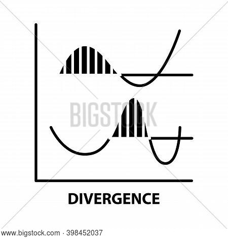 Divergence Icon, Black Vector Sign With Editable Strokes, Concept Illustration