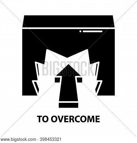 To Overcome Icon, Black Vector Sign With Editable Strokes, Concept Illustration