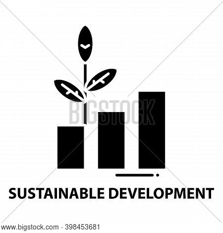 Sustainable Development Icon, Black Vector Sign With Editable Strokes, Concept Illustration