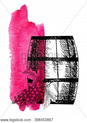 Wine Grape. Barrel And Grape Twig. Vector Background With Wine Stains And Hand Drawn Sketch Illustra