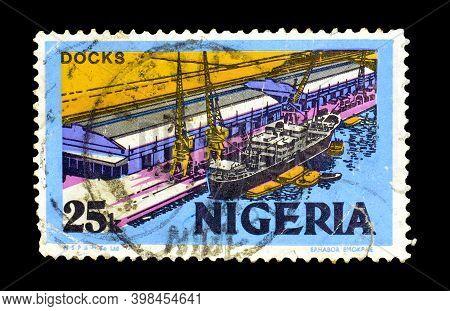Nigeria - Circa 1973 : Cancelled Postage Stamp Printed By Nigeria, That Shows Docks, Circa 1973.