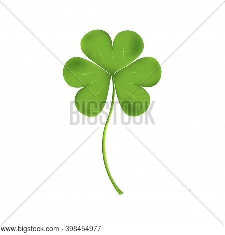 Four-leaf Of Shamrock Isolated On White Background.clover Green Leaf For St Patrick's Day In Ireland