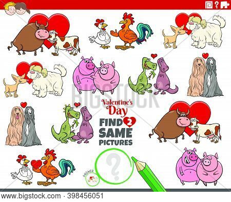 Cartoon Illustration Of Finding Two Same Pictures Educational Game With Animal Couples At Valentines
