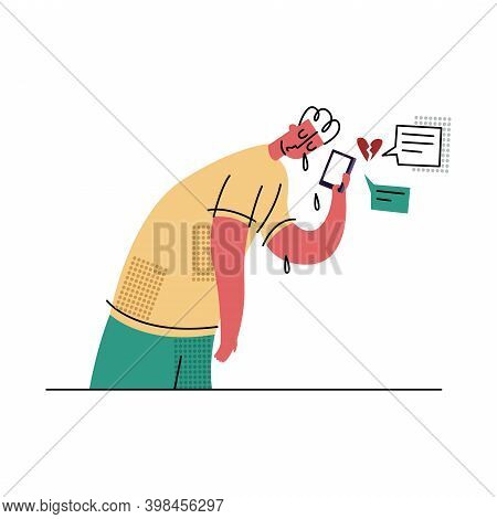 Vector Flat Isolated Illustration With Concept Of Bullying, Internet Trolling, Gaslighting, Negative