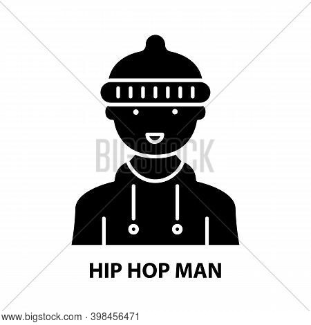 Hip Hop Man Icon, Black Vector Sign With Editable Strokes, Concept Illustration