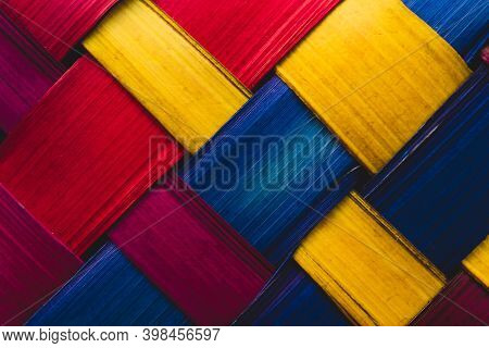 Traditional Handcraft Colorful Indigenous Palm Mexican Background
