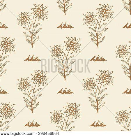 Edelweiss Flower Alpine Icon Seamless Background Tile Pattern