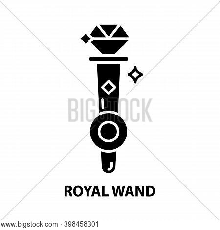 Royal Wand Icon, Black Vector Sign With Editable Strokes, Concept Illustration
