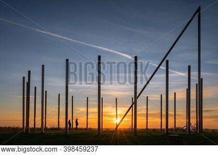 Castrop-rauxel, Germany - November 14, 2020: Schwerin Tip, Landmark Of Ruhr Metropolis Against Sky O