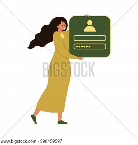 Flat Vector Cartoon Illustration Of A Girl Holding A Page With The Registration Of The App's User In