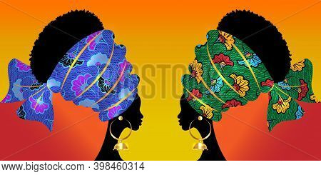 Portrait Beautiful Afro Woman. Shenbolen Wedding Flower Headwrap Women African Traditional Ankara Tu