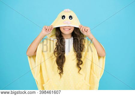 Feeling Cozy And Comfortable. Kids Fashion. Domestic Clothes. Happy Childhood. Kid With Long Hair We