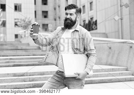 Business Life. Modern Life. Hipster Modern Worker With Notebook. Modern Technology. Coffee Break. So
