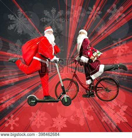 Meeting Of Two Santa Clauses. Santa Claus Rides A Scooter. Ded Moroz From Russia Rides A Bicycle. Co
