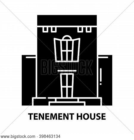Tenement House Icon, Black Vector Sign With Editable Strokes, Concept Illustration