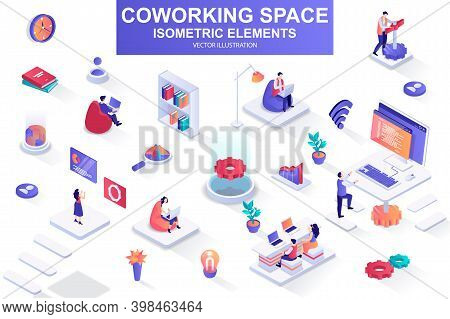 Coworking Space Bundle Of Isometric Elements. Freelancer Work With Laptop, Coworking Space, Develope