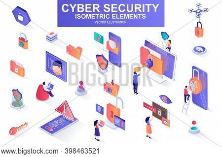 Cyber Security Bundle Of Isometric Elements. Fingerprint Scanner, Padlock, Password, Firewall, Data