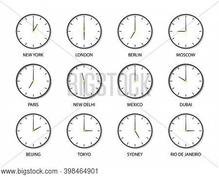Clock With Time Of Different World Zone. Icons Of Clock Of International Timezones. Set Of 12 Modern