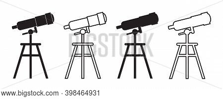 Icon Of Telescope For Discovery. Spyglass With Tripod In Line Style For Astronomy Discover. Watching