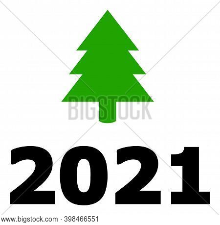 2021 Fir Tree Icon With Flat Style. Isolated Vector 2021 Fir Tree Icon Image On A White Background.