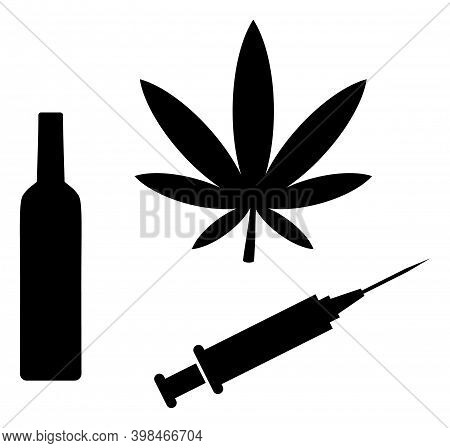 Narcotic Drugs Icon With Flat Style. Isolated Vector Narcotic Drugs Icon Image On A White Background