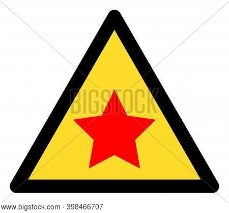 Communism Star Warning Icon With Flat Style. Isolated Vector Communism Star Warning Icon Image On A