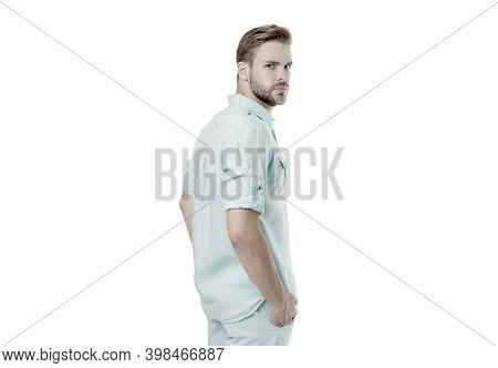 Casual Summer Style. Handsome Man Keeping Arms In Pockets In Casual Wear Isolated On White. Confiden
