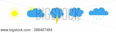 Weather Icons. Forecast Of Weather. Symbosl Of Meteo Forecast. Set Of Signs Of Cloud, Sun, Rain, Col