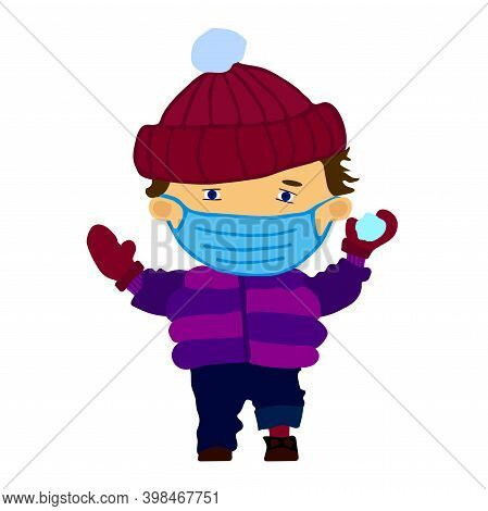 Funny Happy Boy In Medical Mask Throwing A Snowball. Flat Illustration Isolated On White Background.