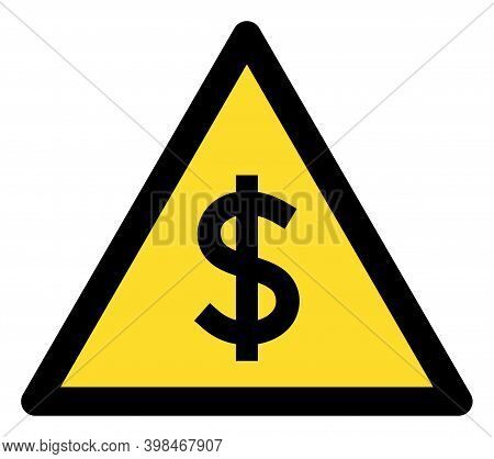 Dollar Warning Icon With Flat Style. Isolated Vector Dollar Warning Icon Image On A White Background