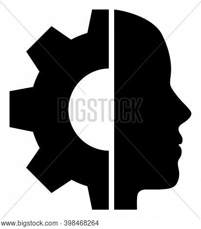 Cyborg Head Icon With Flat Style. Isolated Vector Cyborg Head Icon Image On A White Background.