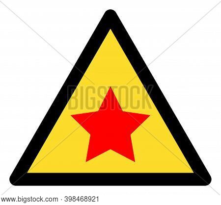 Communism Star Warning Icon With Flat Style. Isolated Raster Communism Star Warning Icon Image On A