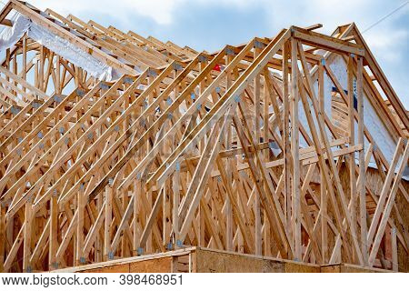 Installation Of Rafters Wood Roof Framework Home