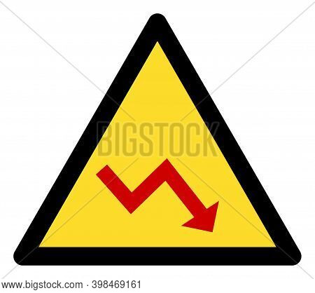 Recession Warning Icon With Flat Style. Isolated Raster Recession Warning Icon Image On A White Back