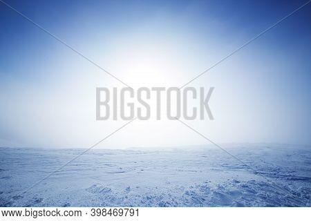 Arctic Winter Landscape With Mountain Range At Bolchoi Voudyavr, Kirovsk, Murmansk Oblast, Russia