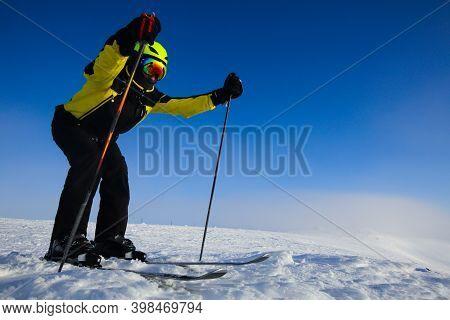 Skier Start Skiing Downhill In High Mountains At Bolchoi Voudyavr, Kirovsk, Murmansk Oblast, Russia