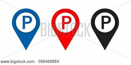 Parking Sign Icon . Set Of Map Parking Pointer . Illustration On White Background . Parking Place Or