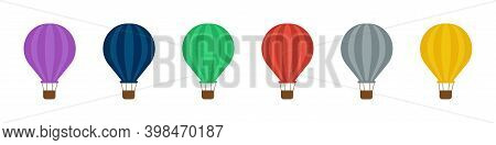 Hot Air Balloon Icon . Set Of Colorful Air Balloons. Vector Icon On White Background . Flat Ballon .