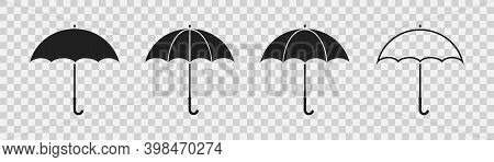 Umbrella Icon Set. Black Umbrellas On Transparent Background. Collection Of Simple Silhouette. Flat