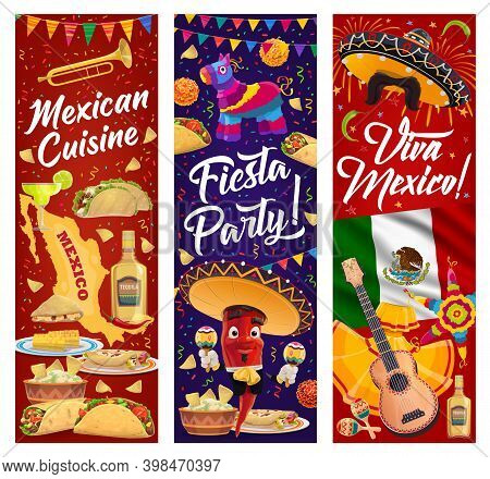 Viva Mexico Vector Banners With Mexican Fiesta Party Food And Chilli Pepper Character. Sombrero Hats