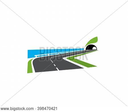 Speedway Turn, Seacoast Road With Tunnel Icon. Highway On Sea Or Ocean Shore, Coastal Motorway With