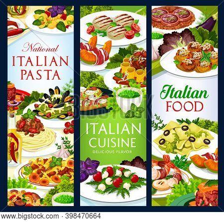 Italian Cuisine Vector Food Melon Horned With Ham, Italian Meatballs, Cannelloni, Zampone With Lenti