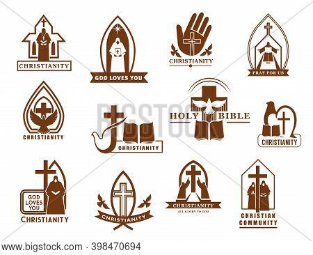 Christianity Religion Vector Icons, Cross, Bible And Dove, Christian Catholic Churches, Prayer, Prie