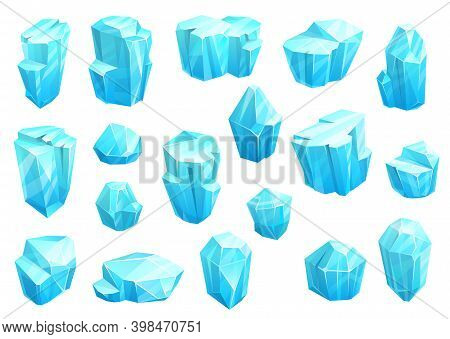 Ice Crystals, Blue Magic Gems Vector Icons. Jewel Rocks Or Mineral Stones Isolated Natural Turquoise