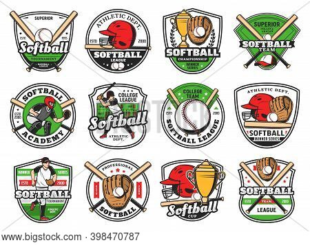 Softball Or Baseball Club Emblem With Bat And Ball, Vector, Champion Team And Sport League Patch. Ba