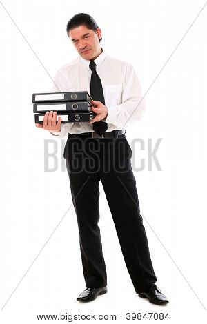 Mid aged office worker holding folders over a white background
