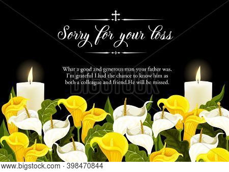 Funerary Card With Candles And Calla Lilies. Funeral Banner, Obituary Frame With White And Yellow Ar