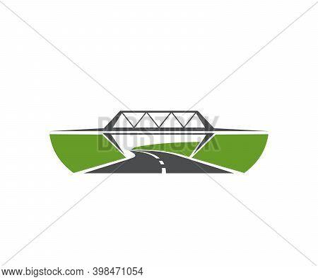 Highway Level Junction, Road Bridge Icon. Speed Freeway, Asphalt Driveway And Motorway Crossed By Be
