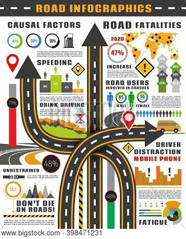 Road And Traffic Safety Infographics Vector Template. Highway With Road Signs And Map Pointers, Grap